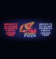 pizza neon sign pizzeria neon logo emblem vector image