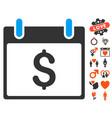 dollar calendar day icon with lovely bonus vector image