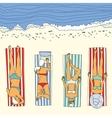 Summer beach sunbathing girl vector image
