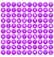 100 oppression icons set purple vector image vector image