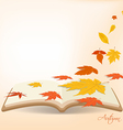 Autumn leaves background in the book vector image vector image