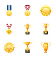 awards icons set cartoon style vector image