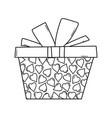 birthday giftbox cartoon black and white vector image vector image