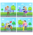 boy and girl hugging with hearts showing love vector image vector image