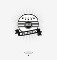 Burger logo Fast food symbol with ribbon vector image