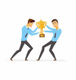 businessmen fighting for a trophy - cartoon people vector image