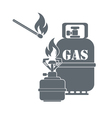 Camping gas container and matches icon vector image