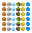 Cartoon Isometric game brick cubes set vector image vector image