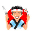 cartoon japanese sushi chef on red round isolated vector image vector image
