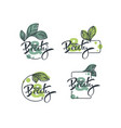 collection of hand drawn sketches leaves emblems vector image vector image