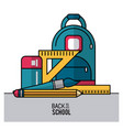 color poster of back to school with backpack and vector image vector image
