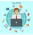 Concept of Technical Online Support Call Center vector image