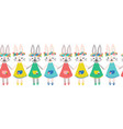 cute bunnies seamless border repeating vector image