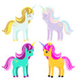 cute unicorns fairy pony magic horses for kids vector image vector image