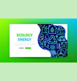 ecology neon landing page vector image vector image