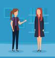 elegant businesswomen in the workplace vector image