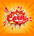 exploding label for popcorn on sunburst background vector image vector image