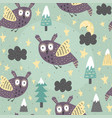 fantasy owl flying at night seamless pattern vector image