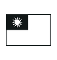 Flag of Taiwan monochrome on white background vector image