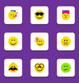 flat icon face set of pleasant caress have an vector image vector image