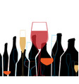 Glasses of wine with bottles vector image vector image