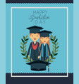 graduation card with couple graduates vector image vector image
