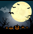 halloween party pumpkin trees bats and full moon vector image vector image