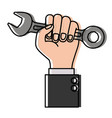 hand holding spanner flat icon watercolor vector image vector image