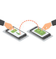 hands touching smartphones which sending and vector image vector image