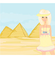 Happy tourist visits the Pyramids vector image vector image