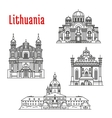Historic landmarks and sightseeings of Lithuania vector image vector image