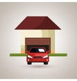 house with car in the garage isolated icon design vector image