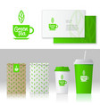 identity green tea logo style mockup packages vector image vector image