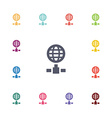internet flat icons set vector image