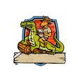kangaroo riding crocodile crest mascot vector image vector image