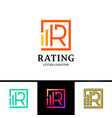 letter r logotype with rate top line vector image