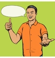 Man shows thumb gesture pop art vector image