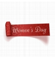 March 8 Womens Day red curved textile Ribbon vector image