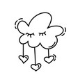 monoline cute cloud with hearts valentines vector image