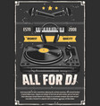 music shop dj studio equipment grunge poster vector image vector image
