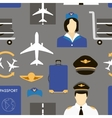 Pilot and stewardess at work vector image vector image