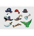 pirate set of knives and hats vector image vector image