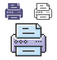 pixel icon printer in three variants fully vector image vector image