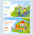 playground at park for children website text set vector image vector image