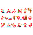 santa clauses set funny cartoon characters in vector image