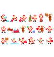 santa clauses set funny cartoon characters vector image vector image