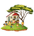 scene with children play at home vector image vector image