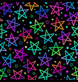 seamless background with bright neon stars vector image