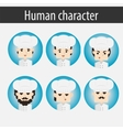 set men European character chef vector image