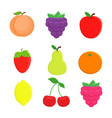 set of 9 cartoon fruit lemon orange apple pe vector image vector image